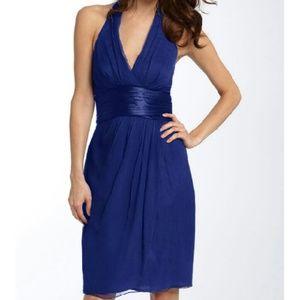 Maggy London cobalt blue chiffon halter dress