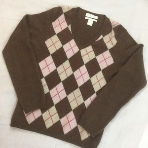 ❄️ Brown Argyle Cashmere V-neck Sweater ❄️