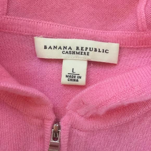 Banana Republic Tops - Pink Zip-up Cashmere Short Sleeved Hoodie