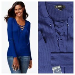 INC Blue Solid Lace-Up Ribbed Sweater 