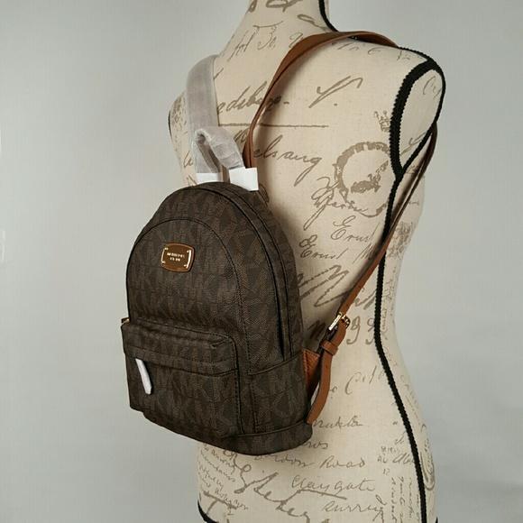 michael kors bags jet set signature backpack brown bag poshmark rh poshmark com