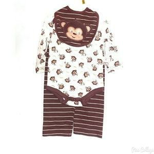 Other - NWT Cute 3pc Boy's Monkey Outfit