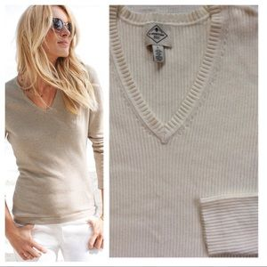 Sweaters - Ribbed V-Neck Sweater