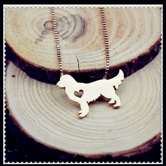 Jewelry Golden Retriever Dog Necklace Gold Tone Heart Poshmark