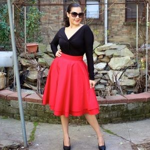 ModCloth Dresses & Skirts - FINAL! ModCloth Red Full Circle Skirt