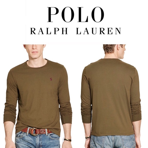 56558a31276c POLO Ralph Lauren Custom Fit Long Sleeve Tee Tan. M 584ae2f46a5830083c02a441