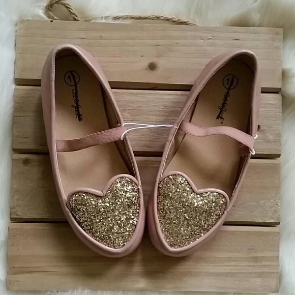 8e97ce4c306cc 🍾 SALE! Girls Glitter Heart Slip-ons