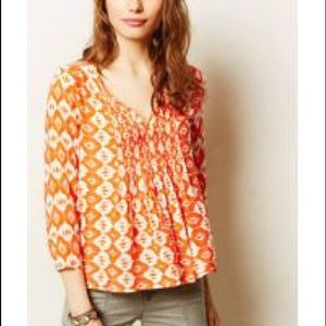 Anthropologie Vanessa Virginia Ikat Peasant Top