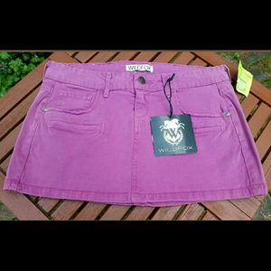 Wildfox Dresses & Skirts - Wildfox TATTERED STITCH Shabby Hot Pink Mini Skirt