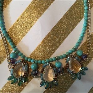 Turquoise/gold beaded statement necklace