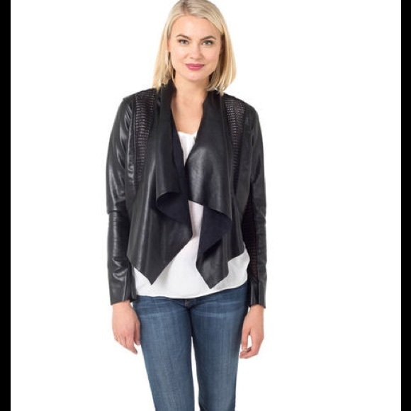 9602a03da Blank NYC Draped Faux Leather Moto Jacket