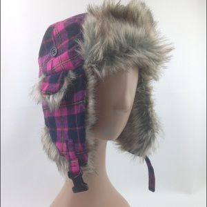 Pink and black plaid fur lined winter hat
