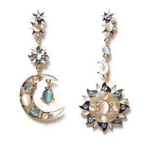 New Jewel Sun and Moon Dangling Gold Earrings