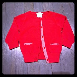 Jacadi Other - Jacadi red cotton grosgrain cardigan EUC