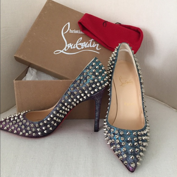 new product 2f5e6 8b1f8 Christian Louboutin Pigalle Spikes 100 Lame NWT
