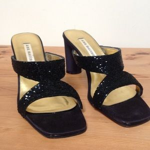 "Ann Marino Shoes - NWOT Ann Marino Dressy Sz8M Blk.Satin&Bead 3""Heels"