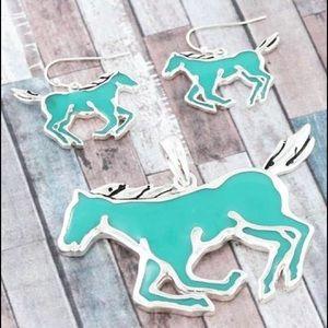Horse Earrings & Pendant - Gorgeous Color!