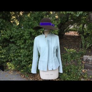 Pale Green Assimetrical leather jacket