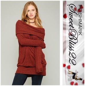 Tops - 💋Host Pick 12/21-Rust off the Shoulder Sweater 💋