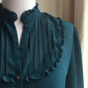 Oleg Cassini Tops - Oleg Cassini dark teal blouse w/ruffles M size