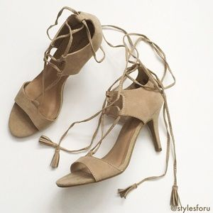 Christian Siriano Shoes - NWT. Nude suede lace up sandal heels