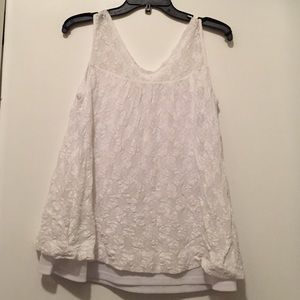 ANTHROPOLOGIE ONLY HEARTS White Lace Tank