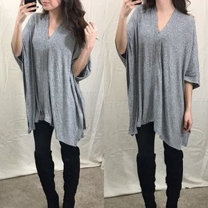 Tops - Heather Gray Poncho Sweater