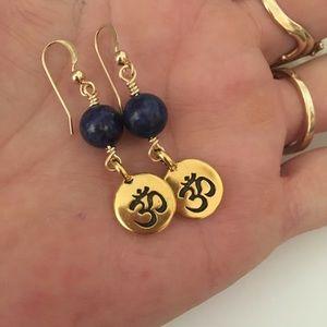 Jewelry - Lapis 💙 Ohm Symbol Yoga Earrings