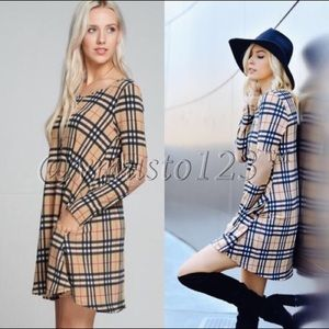 RESTOCKED  TAUPE PLAID DRESS