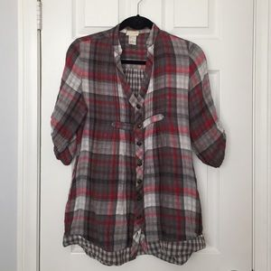Tops - Plaid button down tunic