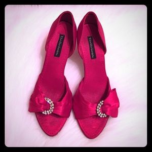 Delicious Shoes - Red Satin Crystal Heels