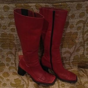 Sam & Libby Shoes - Sam & Libby Red Leather Vintage Knee Boots