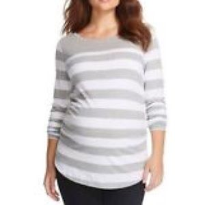 Liz Lange Grey Striped Maternity Shirt