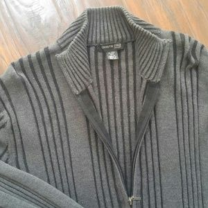 Kenneth Cole grey ribknit zip up sweater