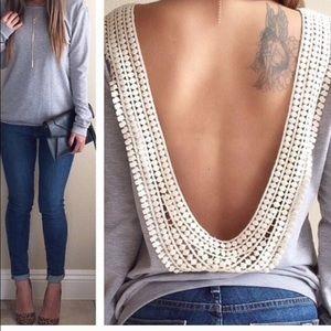 Fancyinn Tops - Backless long sleeve shirt