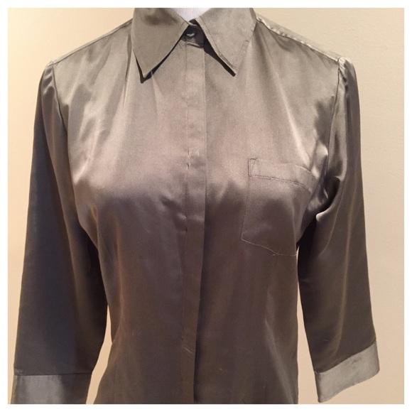 65bf73a410d48f Ann Taylor Tops | Loft Silk Olive Green Button Down | Poshmark