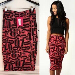 NEW ITEMBOOHOO Lyndsay Print Midi Skirt Sz 14