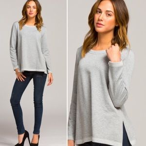 Large French Terry Heather Grey oversized top