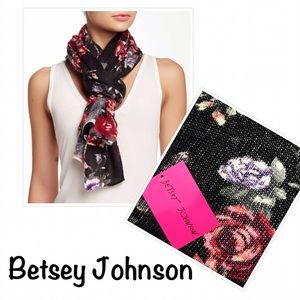 Betsey Johnson Gorgeous Black Floral Knit Scarf