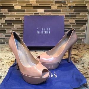 Shoes - Authentic Stuart Weitzman Nude Peep Toe Stilettos
