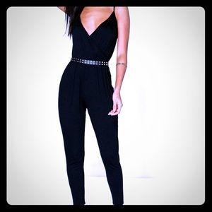 Boohoo Sleeveless Black Wrap Front Jumpsuit US 8