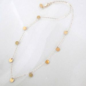 14K Yellow Gold Floating Disc Necklace