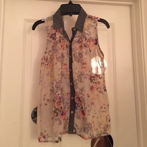 Sleeveless Floral Top with Open Back