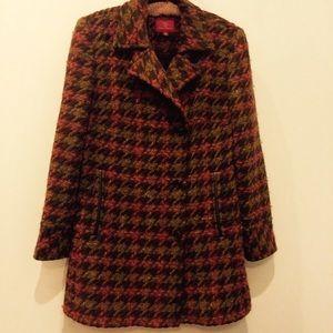 BOGO Cole Haan leather trim brown houndstooth coat