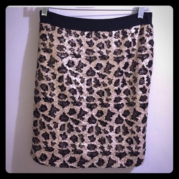 Women's Clothing Skirts Leopard Print Sequin Mini Skirt
