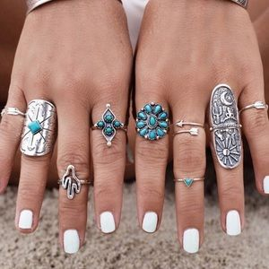 Jewelry - 9 Vintage Turkish Turquoise Silver Boho Midi Ring