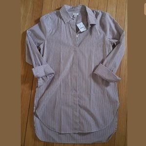 NWT. J. Crew Burgundy Striped Tunic. Small.