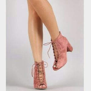 Blush pink peep toe lace up bootie