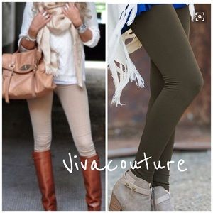 Vivacouture Pants - New Essential Olive Fleece Leggings