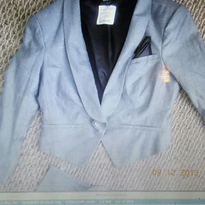 Grey and black womans Bebe tuxedo suit that